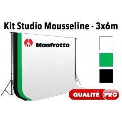 Kit studio Manfrotto Pro + Fond Mousseline 300 x 600 cm